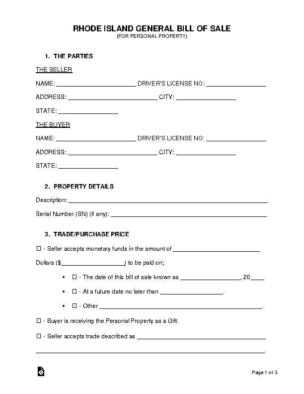 Rhode Island General Personal Property Bill Of Sale