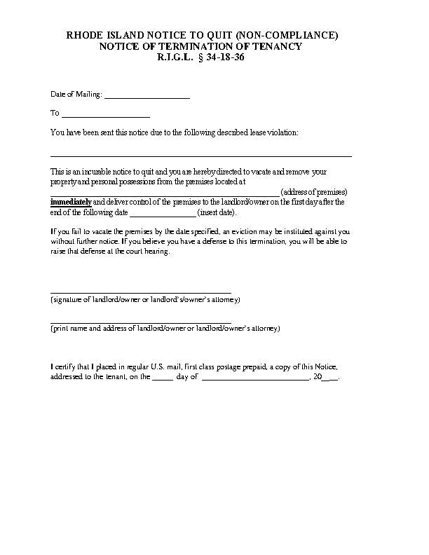 Rhode Island Immediate Notice To Quit Form
