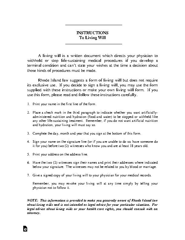 Rhode Island Living Will Declaration Form