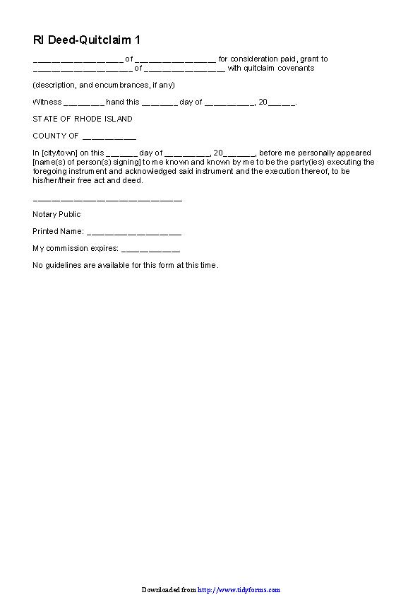 Rhode Island Quitclaim Deed Form 1