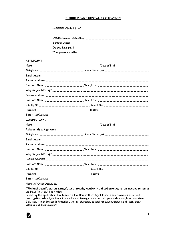 Rhode Island Rental Application Template