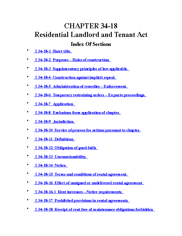 Rhode Island Residential Landlord And Tenant Act Chapter 34 18