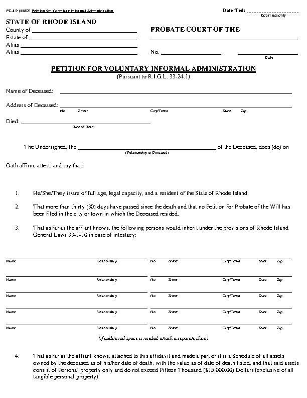 Rhode Island Small Estate Affidavit Form Pc1.9