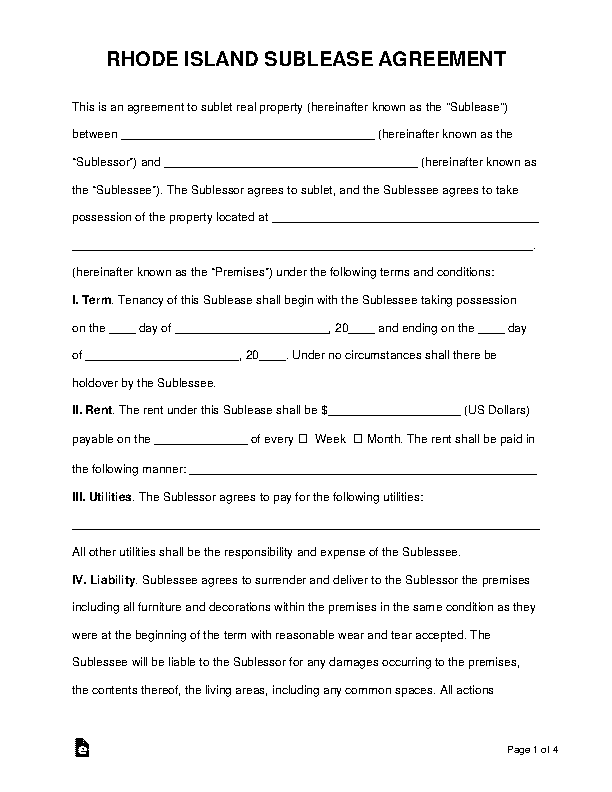 Rhode Island Sublease Agreement Template