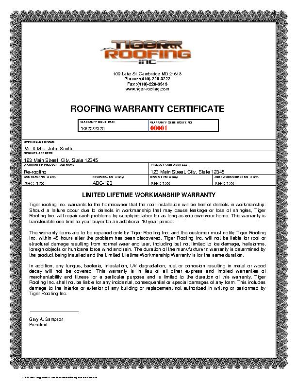 Roofing Warranty Certificate Template Pdfsimpli