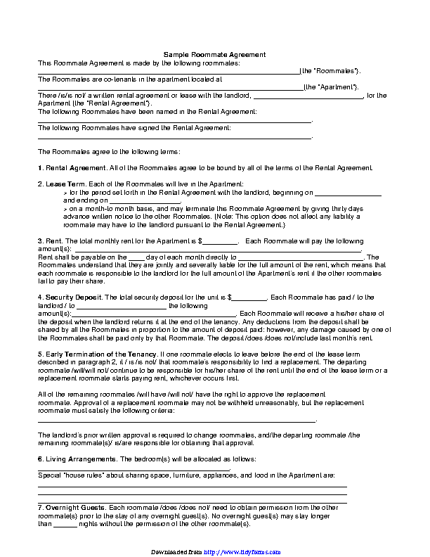 Roommate Agreement 2