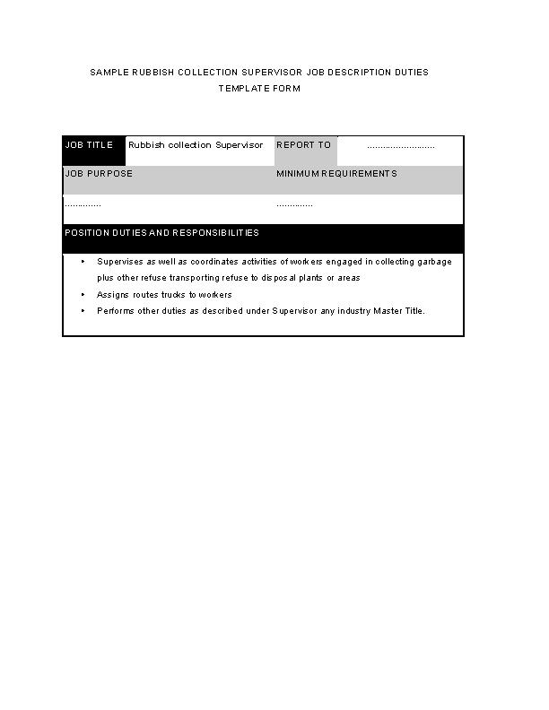 Rubbish Collection Supervisor Job Description