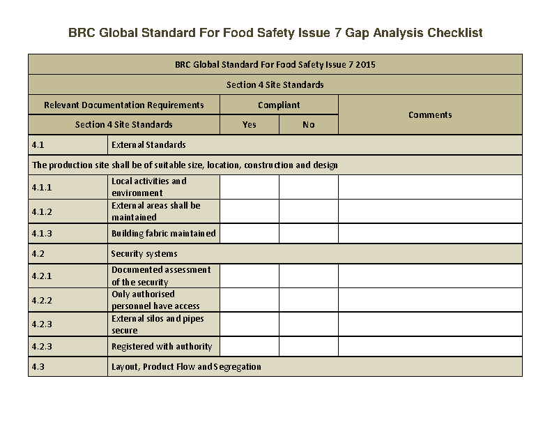 Safety And Security Gap Analysis Checklist