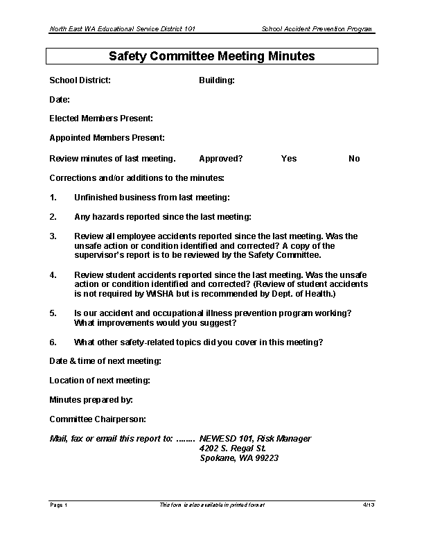 Safety Committee Meeting Minutes Template