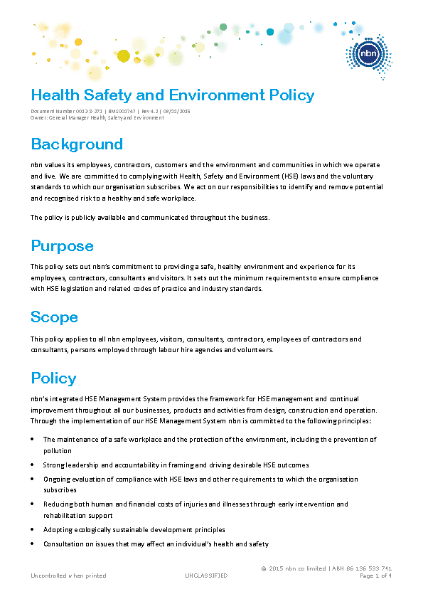 Safety Health And Environmental Policy Template