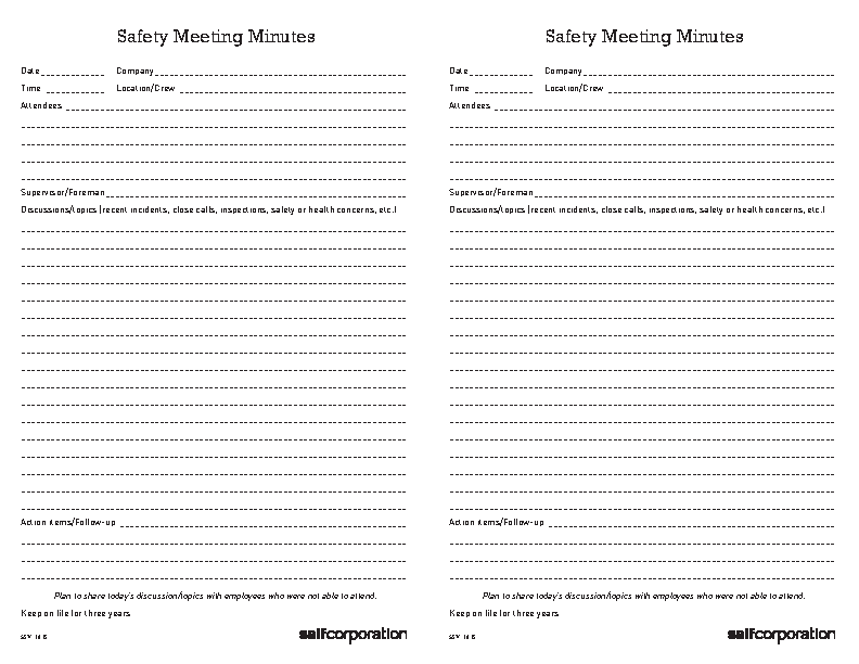 Safety Meeting Minutes Form