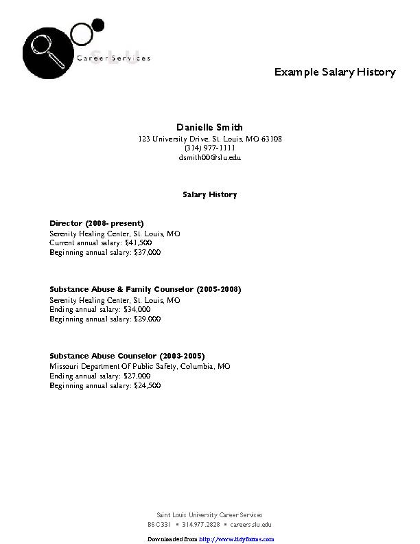 Salary History Example 1