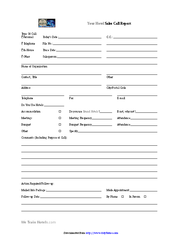 Sales Call Report Template 2