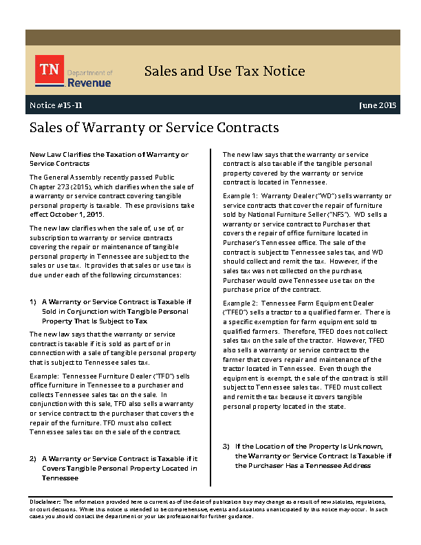 Sales Of Warranty Or Service Contracts