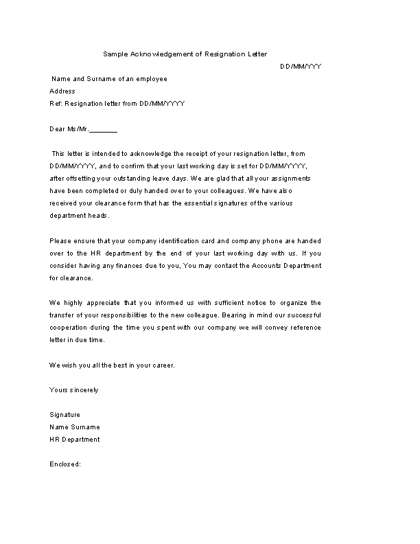 Sample Acknowledgement Of Resignation Letter
