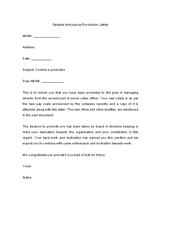 Promotion Announcement Letter Sample from devlegalsimpli.blob.core.windows.net