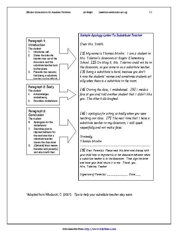 Fill Out Your Sample Apology Letter To Substitute Teacher In Seconds With PDFSimpli