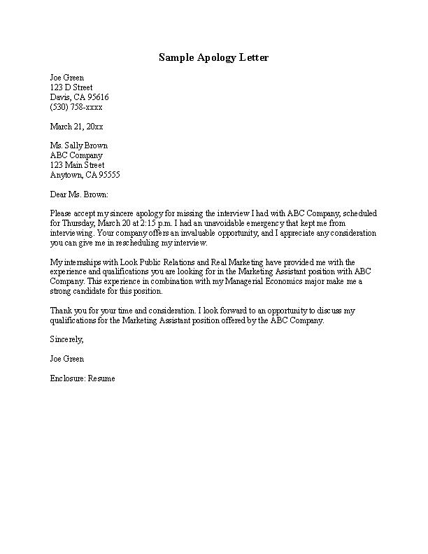 Sample Apology Letter - PDFSimpli