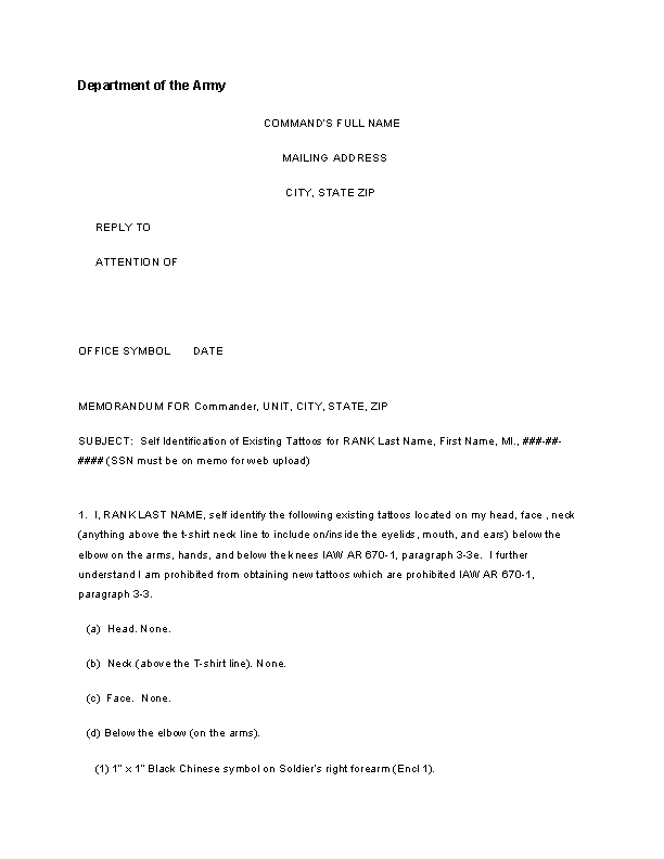 Sample Army Memo Template Free