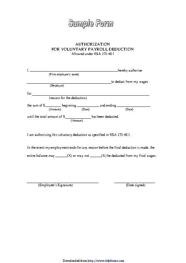 Sample Authorization For Voluntary Payroll Deduction Form