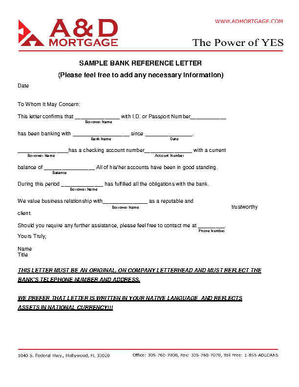 Sample Bank Reference Letter Pdf