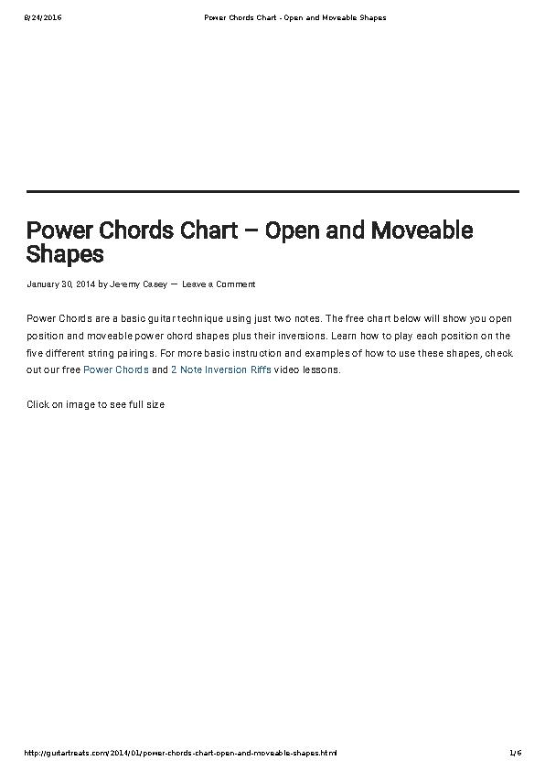 Sample Basic Electric Guitar Chord Chart