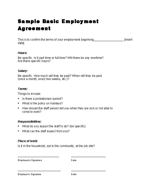 Sample Basic Employment Agreement Contract