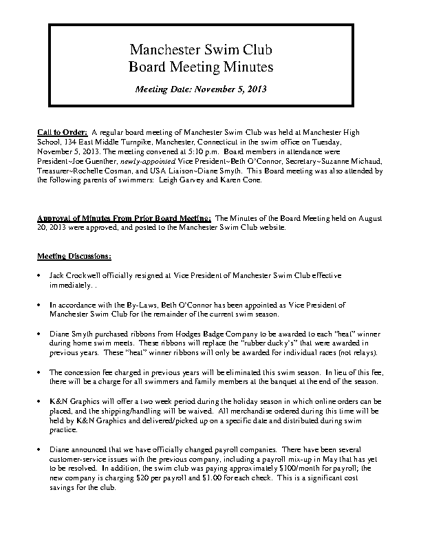 Sample Board Minutes Template
