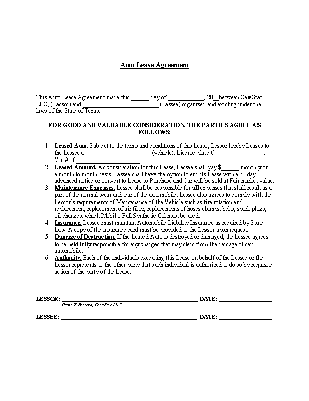 Sample Car Lease Agreement Pdfsimpli