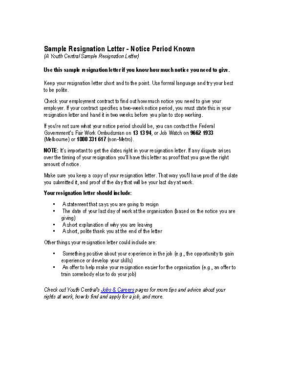 Sample resignation letter notice period pdf