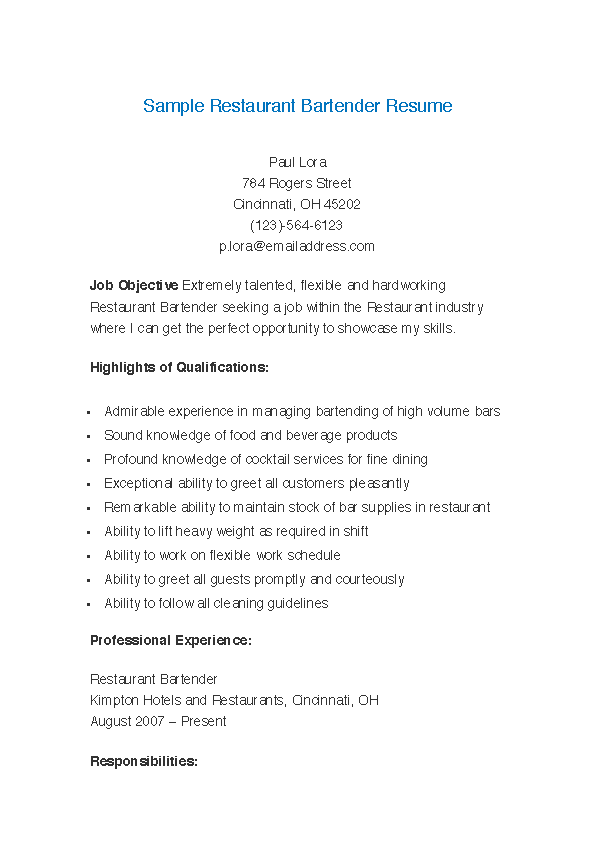 Fill Out Your Sample Restaurant Bartender Resume In Seconds With PDFSimpli