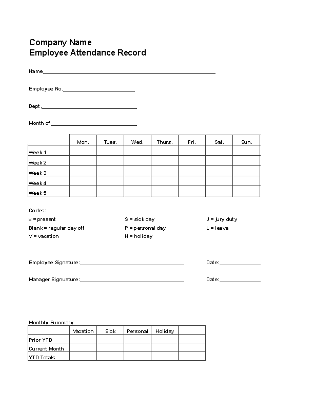 Sample Time And Attendance Form