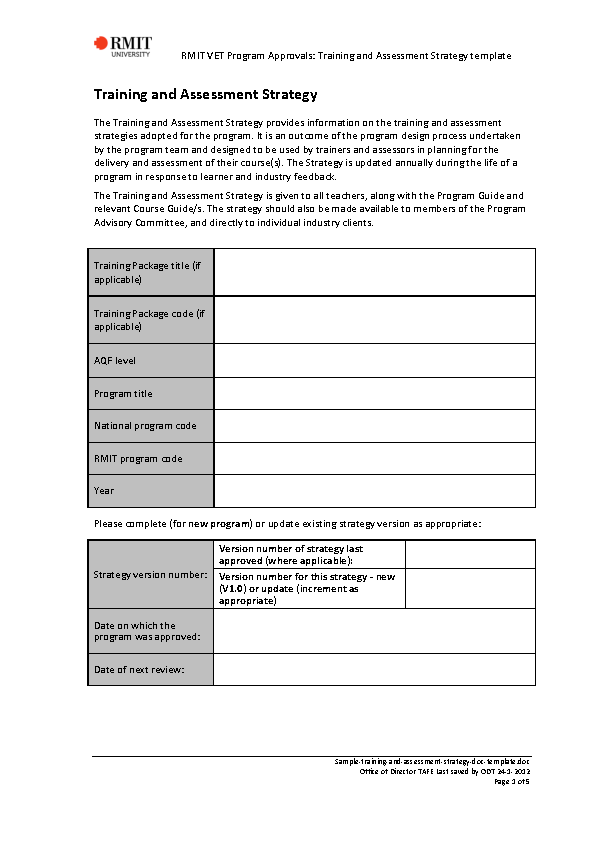 Sample Training And Assessment Strategy Doc Template