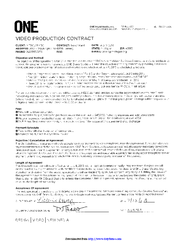 Sample Video Production Contract