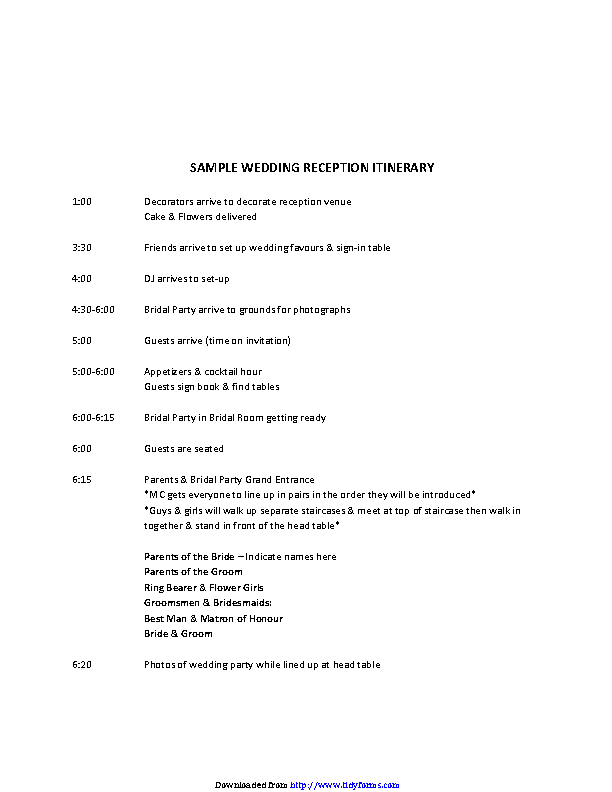 Sample Wedding Reception Itinerary 1