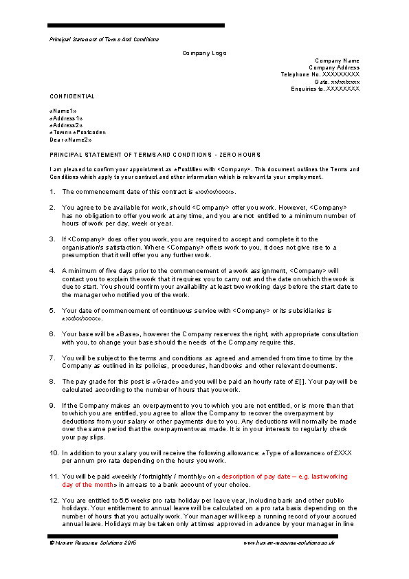 Sample Zero Hours Employment Contract Template