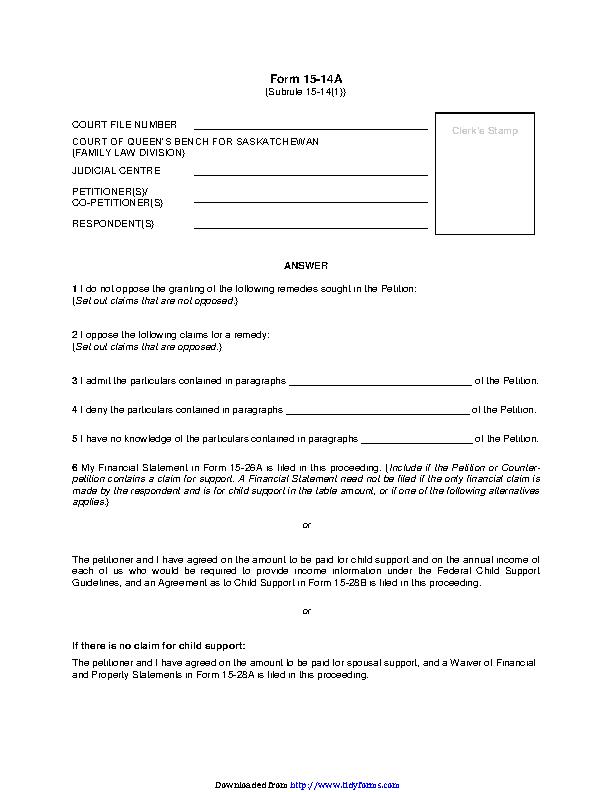 Saskatchewan Answer Form