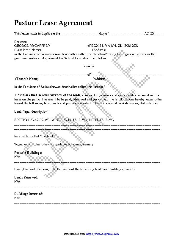 Saskatchewan Pasture Lease Agreement Sample Pdfsimpli
