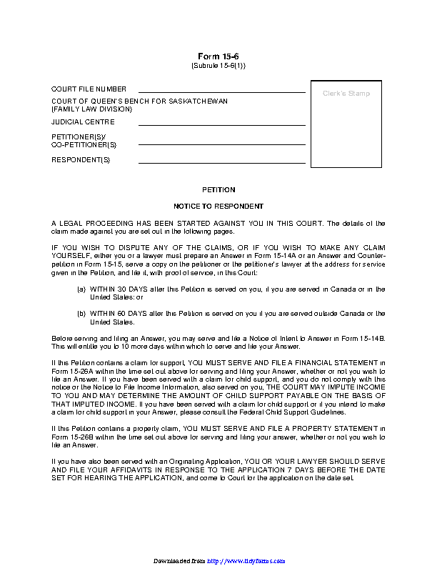 Saskatchewan Petition For Divorce Form