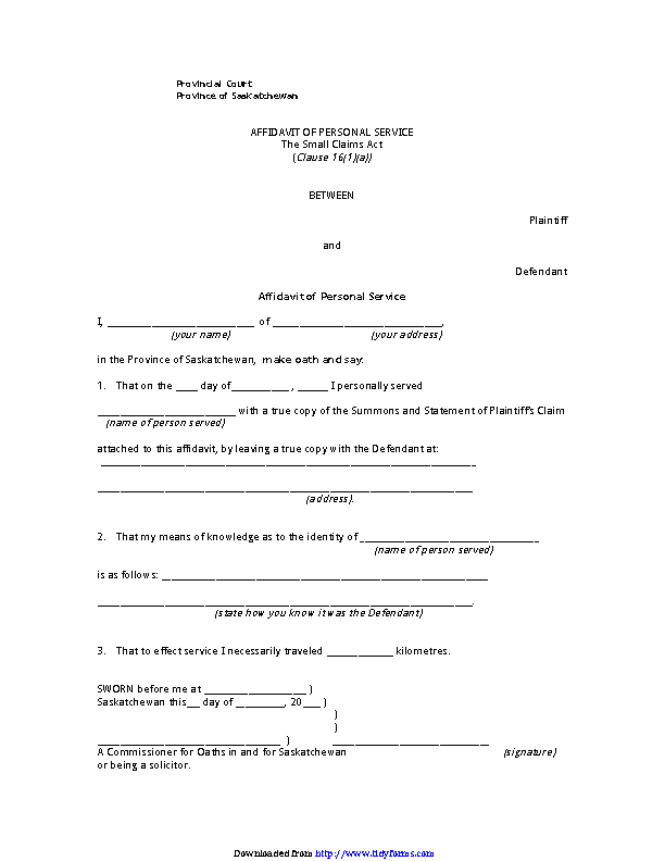 Saskatchewan Plaintiff Affidavit Of Personal Service Form