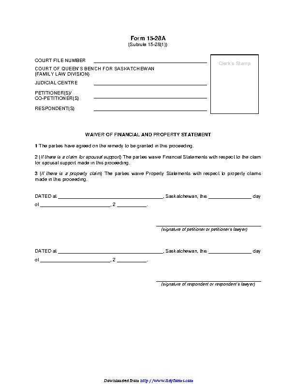 Saskatchewan Waiver Of Financial And Property Statements Form