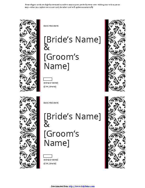 Save The Date Card Black And White Wedding Design
