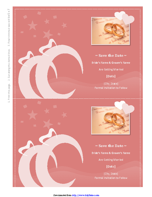 Save The Date Card Heart Scroll Design