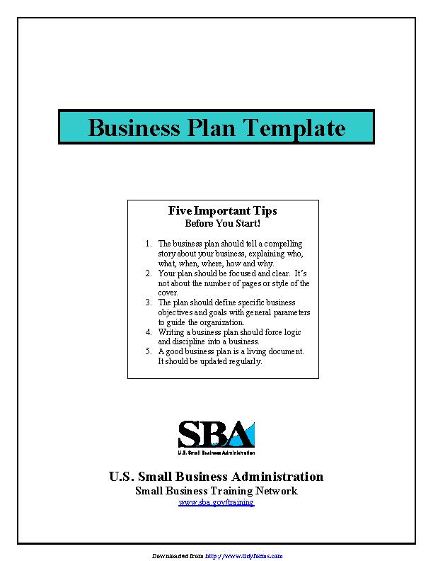 Sba Business Plan Template 1 Pdfsimpli