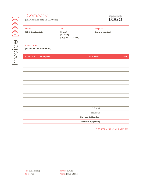 Self Employed Contractor Invoice Template