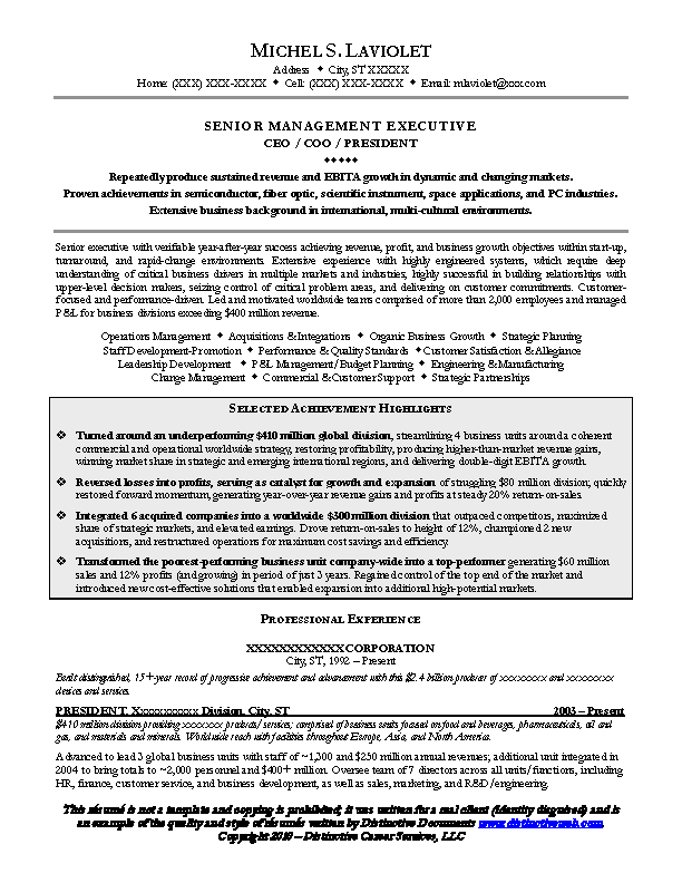 Senior Executive Resume Samples - PDFSimpli