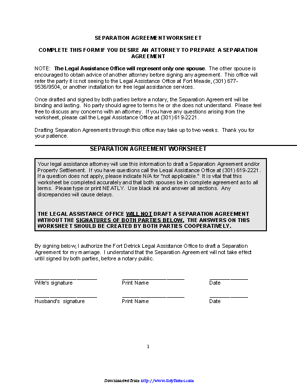 Separation Agreement Worksheet