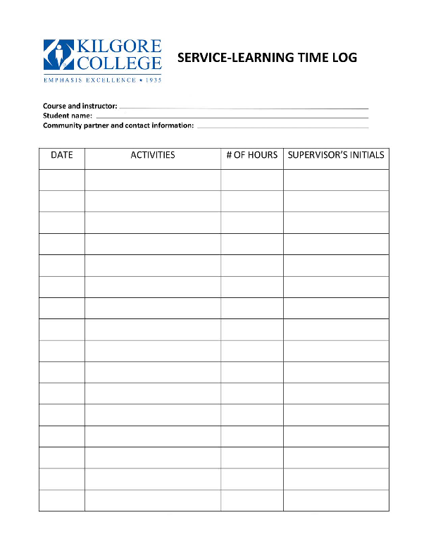 Service Learning Time Log Template Pdfsimpli