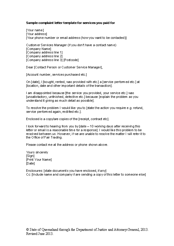 Services Complaint Letter Template Word Doc Download