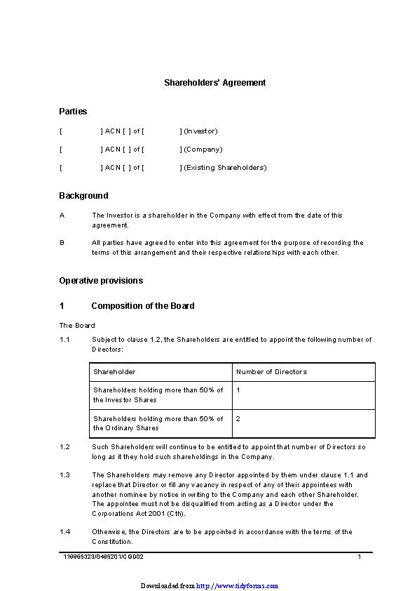 Shareholders Agreement Sample 1 Pdfsimpli